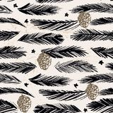 Ink hand drawn christmas tree seamless pattern with branches and cones. For textile, wallpaper, wrapping, web backgrounds and other pattern fills Royalty Free Stock Photography
