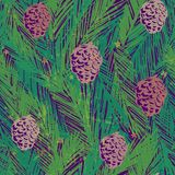 Ink hand drawn seamless pattern with fir tree branches and cones. For textile, wallpaper, wrapping, web backgrounds and other pattern fills Stock Photography