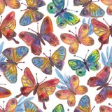Watercolor painted butterflies Bright seamless pattern. For textile, wallpaper, wrapping, web backgrounds and other pattern fills Royalty Free Illustration