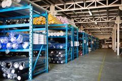 Textile warehouse storing materials Royalty Free Stock Images