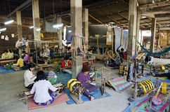 Textile weaving workshop siem reap cambodia Royalty Free Stock Photography