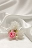 Textile wedding background with pearls Royalty Free Stock Photography