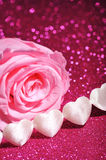 Textilehearts with rose Royalty Free Stock Images