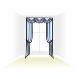 textiler för inregarnering skissar ask dekorerade gardiner int royaltyfri illustrationer