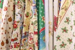 Textiler för ` s för det nya året, tyg med jul skrivar ut Royaltyfri Bild