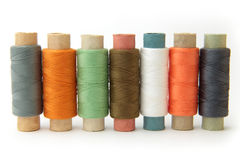 Textiles. Coloured threads on a white background Royalty Free Stock Photography