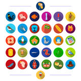 Textiles, atelier, cinematograph and other web icon in flat style. phenomenon, animals, products, icons in set Royalty Free Stock Photos