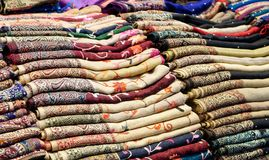 Textiles and Clothing at the bazaar. The Turkish market Stock Images
