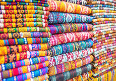 Textiles and Clothing at the bazaar Royalty Free Stock Images