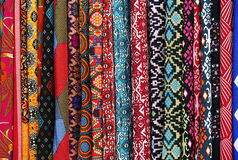 Textiles colorful for sale in a market of Kuala Lumpur Stock Photos