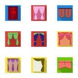 Textiles, curtains, drapes, and other web icon in flat style. Car, hand, furniture icons in set collection. Textiles, curtains, drapes, and other  icon in flat Royalty Free Stock Photos