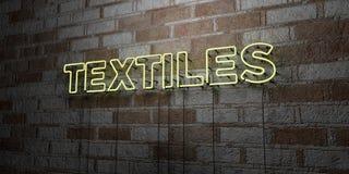 TEXTILES - Enseigne au néon rougeoyant sur le mur de maçonnerie - 3D a rendu l'illustration courante gratuite de redevance illustration de vecteur