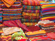 Textiles in Market. Patterned Textiles in a Native American Market showing bright colors Royalty Free Stock Photography