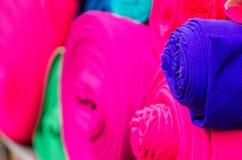 Textiles. On a market in Ecuador royalty free stock photos