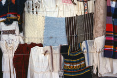 Textiles in a market Oxaca, Mexico. Colorful handmade textiles on sale at an outdoor market in Oaxaca, Mexico royalty free stock image