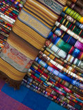 Textiles - Peru. A selection of colorful Peruvian textiles on a market stall in Lima in Peru Royalty Free Stock Photos