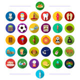 Textiles, restaurant, tourism and other web icon in flat style. sports, medicine, bank, icons in set collection. Textiles, restaurant, tourism and other  icon Royalty Free Stock Photography