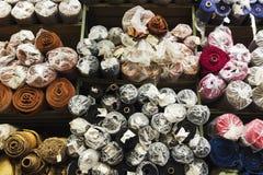 Textiles rolls. A big textiles deposit in bucharest, romania Stock Image