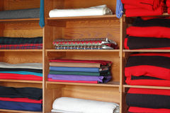 Textiles on Shelves Stock Photography