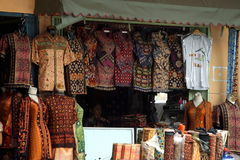 Textiles shop, Palembang, Sumatera, Indonesia. Batik textiles most popular sells in Palembang, Sumatera, Indonesia Stock Images