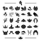 Textiles, tailoring, history and other web icon in black style.professor, plants, condiments icons in set collection. Stock Photos