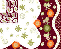 Textilhintergrunddesign mit Blumen Stockfoto