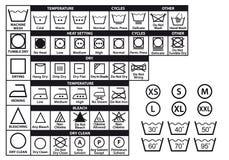 Textilomsorgsymboler, vektoruppsättning Royaltyfria Bilder