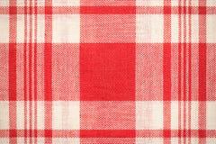Textilyttersida Röd och vit torkduketextur Arkivfoton