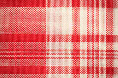 Textilyttersida Röd och vit torkduketextur Fotografering för Bildbyråer