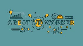 Creative worker typography and Illustration. Orange flat line design in blue background. Business and projects infographics with y stock illustration