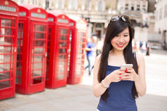 Texting abroad Stock Images