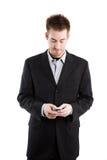 Texting caucasian businessman Stock Photo