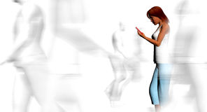 Texting in a crowd Stock Images