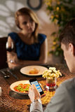 Texting on date Stock Image
