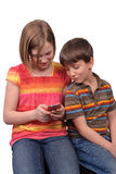 Texting Kinder Stockbilder