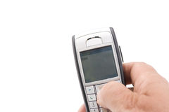 Texting kiss Stock Images