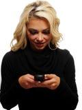 Texting op mijn celtelefoon Royalty-vrije Stock Foto