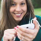 Texting on phone Royalty Free Stock Photos