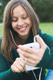 Texting on phone Stock Photos