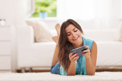 Texting on smart phone Royalty Free Stock Photo