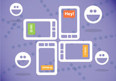 Texting on smartphone. Typing and texting on a smartphone and having a group chat Royalty Free Stock Images