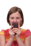 Texting am Telefon Lizenzfreies Stockfoto