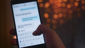 Texting using a messenger on the smartphone. Stock footage stock footage