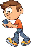 Texting while walking. Cartoon boy texting while walking. Vector clip art illustration with simple gradients. All in a single layer royalty free illustration