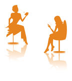 Texting woman silhouette Stock Image