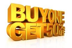 Textkauf 2 des Gold 3D erhalten 50 Prozent heruntergesetzt Stockfotos