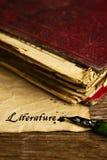 Textliteratur geschrieben mit einem Federhalter Lizenzfreies Stockfoto