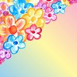 Textmall med blom- design för vattenfärg Arkivfoton