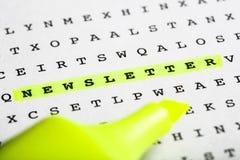 Textmarkör på ordpusslet - informationsblad Arkivfoton