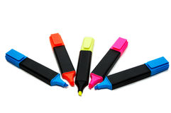 Textmarkers. Series of color textmarkers at white Royalty Free Stock Photos